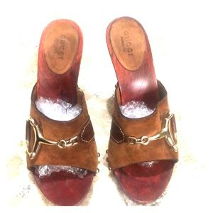Gucci mules warm brown 6.5